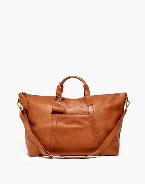 """<h2>Madewell Essential Overnight Bag <br></h2><br>This stylish overnight bag is estimated to ship by early October, but according to reviews, it's worth the wait. One happy customer says, """"The leather is buttery and soft and the inside is super roomy... [I] plan on using this to bring a week full of clothes [and] I know I can fit it all. And, an extra bonus is that there are metal gold footbeds at the bottom of the bag which isn't listed in the description!""""<br><br><em>Shop <a href=""""https://www.madewell.com/the-essential-overnight-bag-in-leather-L4359.html"""" rel=""""nofollow noopener"""" target=""""_blank"""" data-ylk=""""slk:Madewell"""" class=""""link rapid-noclick-resp""""><strong>Madewell</strong></a></em><br><br><strong>Madewell</strong> The Essential Overnight Bag in Leather, $, available at <a href=""""https://go.skimresources.com/?id=30283X879131&url=https%3A%2F%2Fwww.madewell.com%2Fthe-essential-overnight-bag-in-leather-L4359.html"""" rel=""""nofollow noopener"""" target=""""_blank"""" data-ylk=""""slk:Madewell"""" class=""""link rapid-noclick-resp"""">Madewell</a>"""